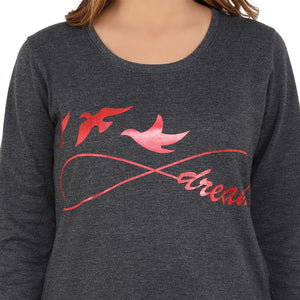 Fly Away Dream Red On Charcoal Grey sweatshirt