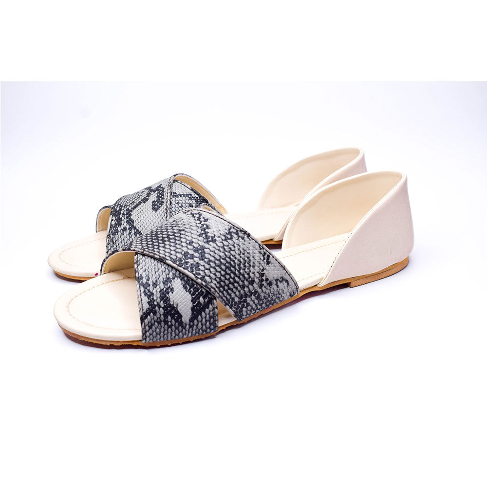 Grey side step sandals