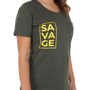 Savage Yellow on Green Women's Cotton T-Shirt