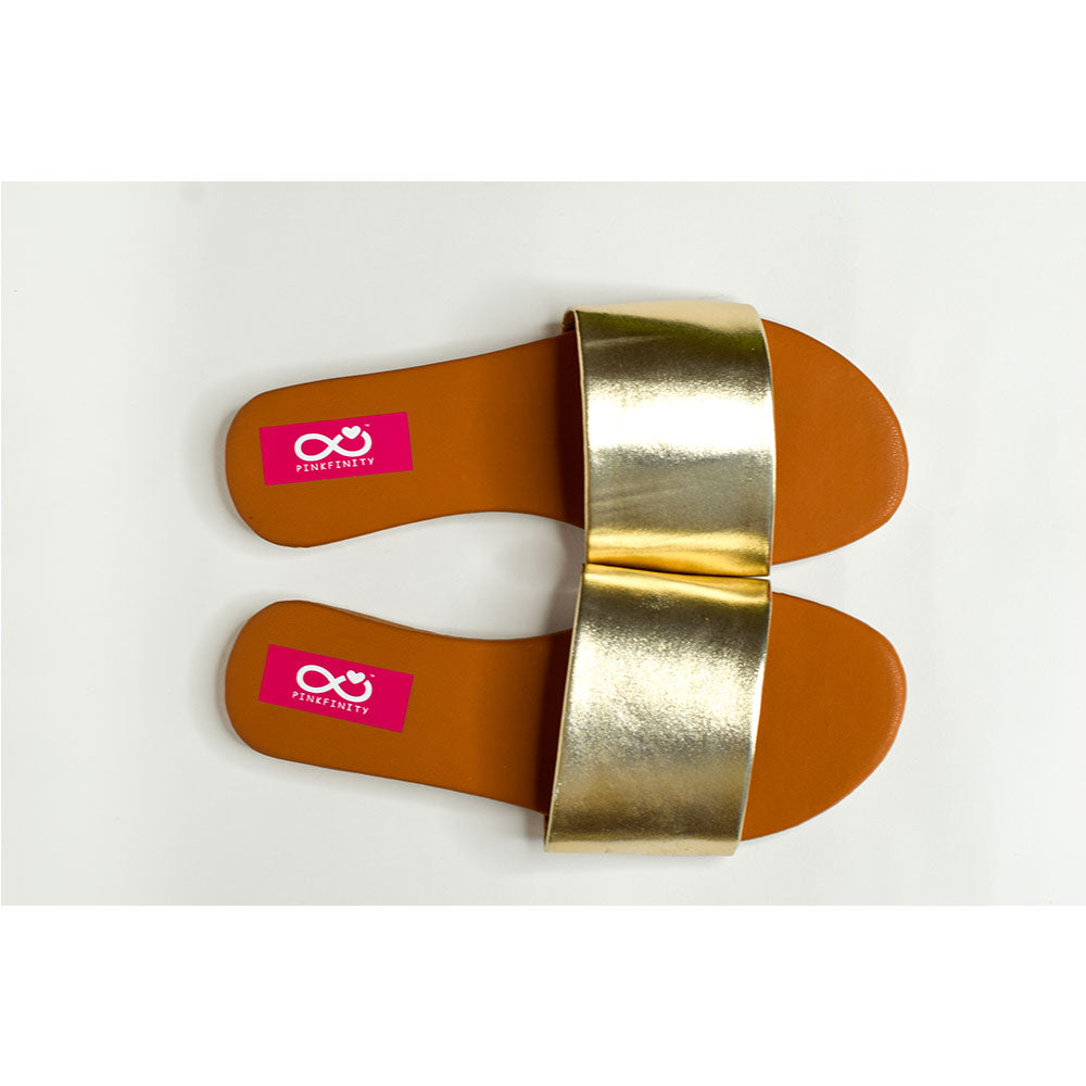 Metallic single strap slides