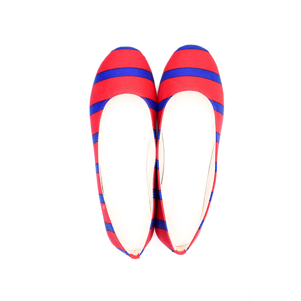 Red blue stripes ballerinas