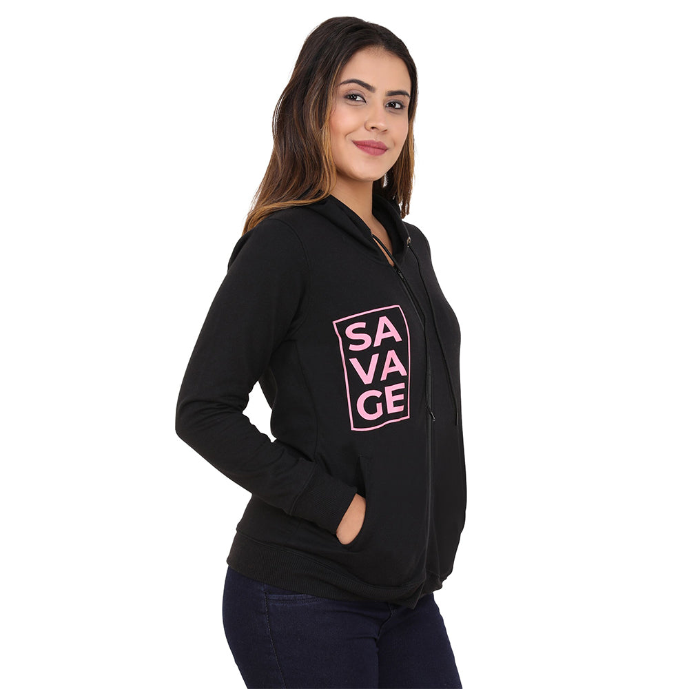 Savage Pink on charcoal gray Hoodie