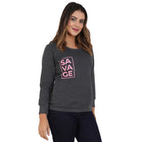 Savage pink on charecoal gray Sweatshirt