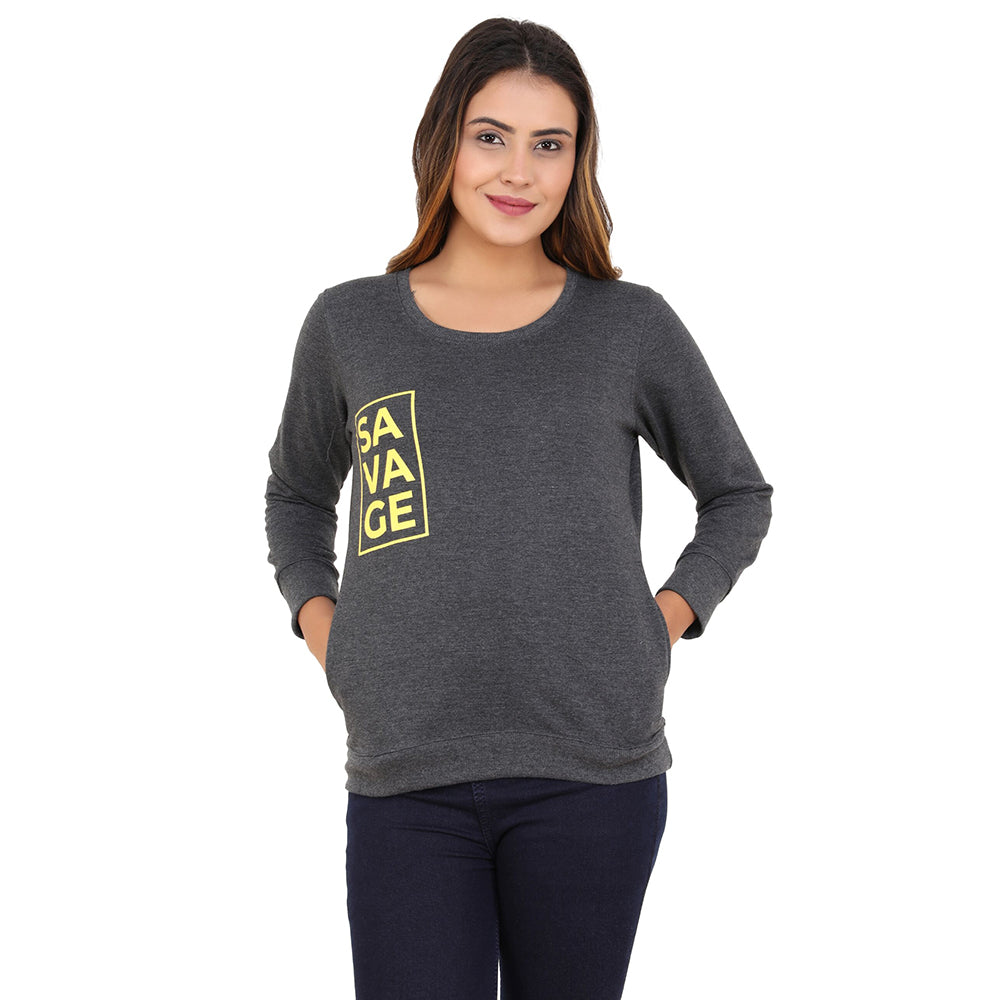 Savage yellow on charcoal Gray Sweatshirt