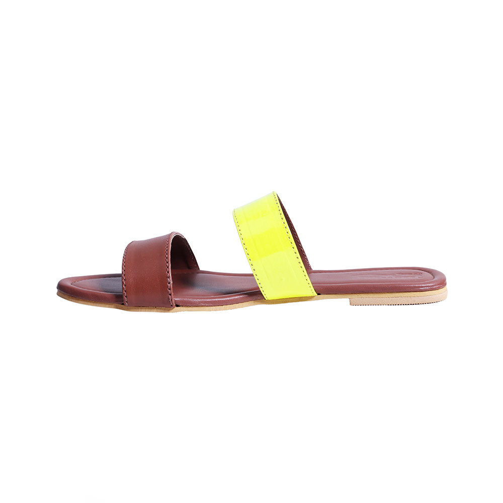 Tan yellow double strap