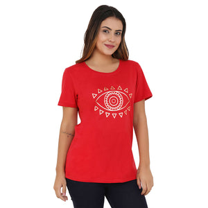 Eye SPY Gold ON RED Women's Cotton T-Shirt