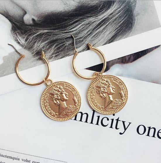 In the World Coin Earrings