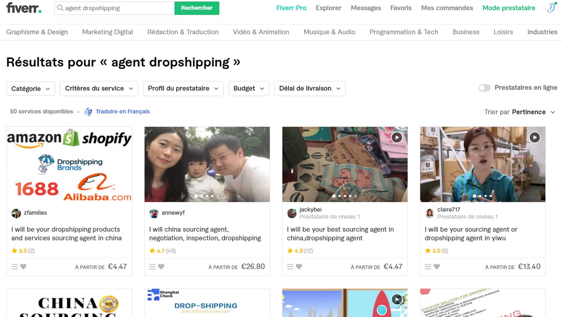 Agent dropshipping fiverr