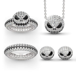 """Jack Skull"" Sterling Silver Jewelry Set"