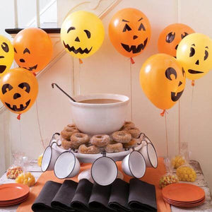 Ghost Jack-o-Lantern Pack of 15pcs Orange Black Printed Latex Balloons