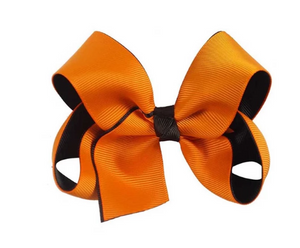 Hair Bow Girls Handmade Orange Ribbon Alligator Hair Bow Clips Halloween