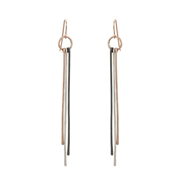 TRI -TONED STICK EARRINGS - Anne Sportun Fine Jewellery