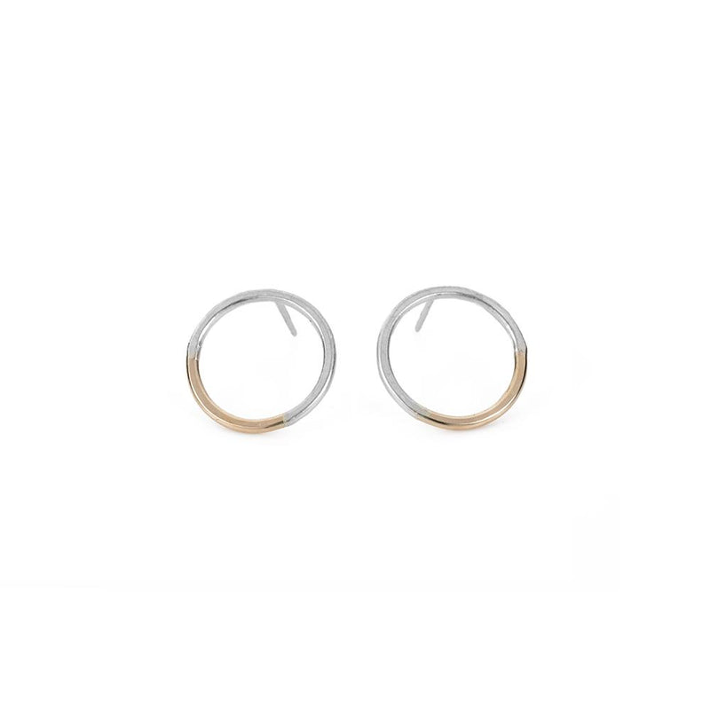SILVER & GOLD CIRCLE POST EARRINGS - Anne Sportun Fine Jewellery