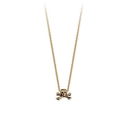 SKULL & CROSSBONES 14K GOLD SYMBOL CHARM NECKLACE