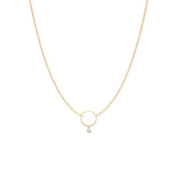 14K DANGLING BEZEL DIAMOND CIRCLE NECKLACE
