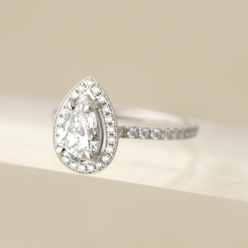 One of a Kind Pear Halo Diamond Ring - Anne Sportun Fine Jewellery