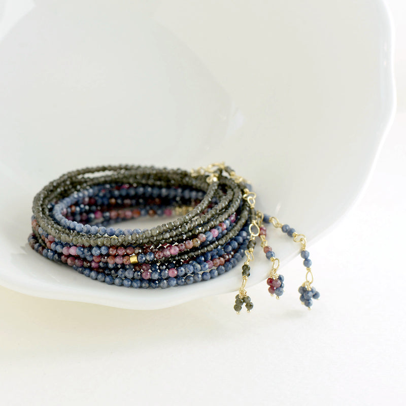 Pink and Blue Sapphire Bead Wrap Bracelet - Necklace
