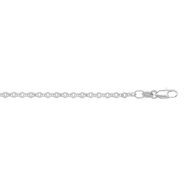 SOLID CABLE LINK CHAIN NECKLACE - 10K WHITE GOLD