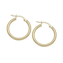 THICK TUBE HOOP EARRINGS - MEDIUM - 10K YELLOW GOLD