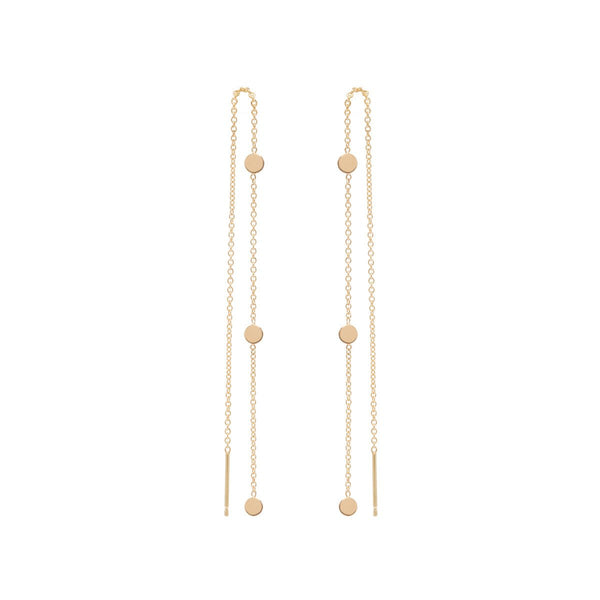 ITTY BITTY 3 ROUND DISC THREADER EARRINGS - 14k YELLOW GOLD