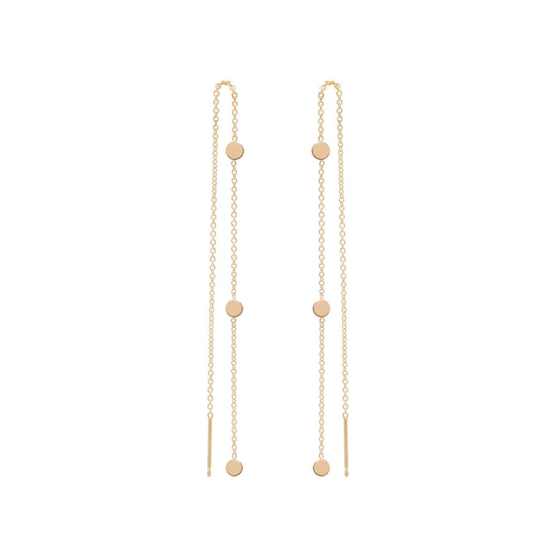 14K ITTY BITTY 3 ROUND DISC THREADER EARRINGS