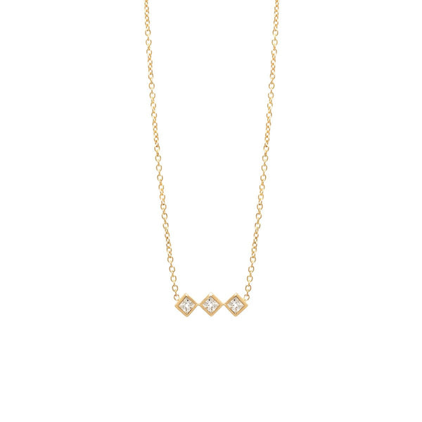 3 PRINCESS DIAMOND BAR NECKLACE - Anne Sportun Fine Jewellery