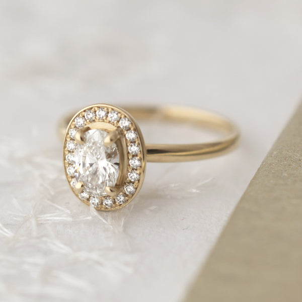 One of a Kind Oval Diamond Halo Engagement Ring - Anne Sportun Fine Jewellery