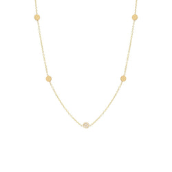 ITTY BITTY 5 DISC NECKLACE WITH 1 PAVE DISC - 14K YELLOW GOLD