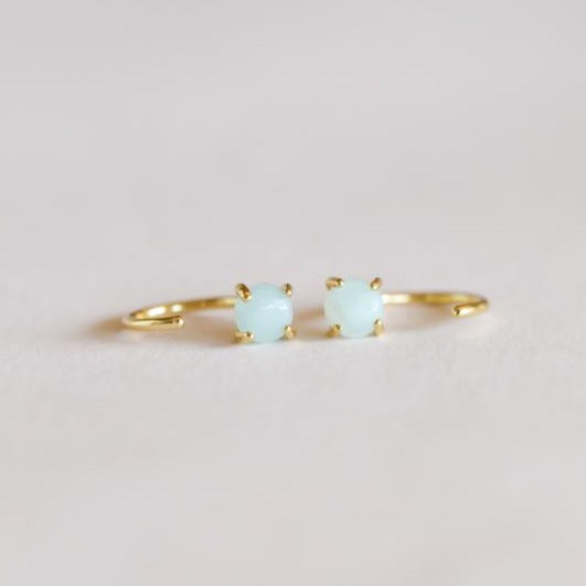 Amazonite Huggie Earrings