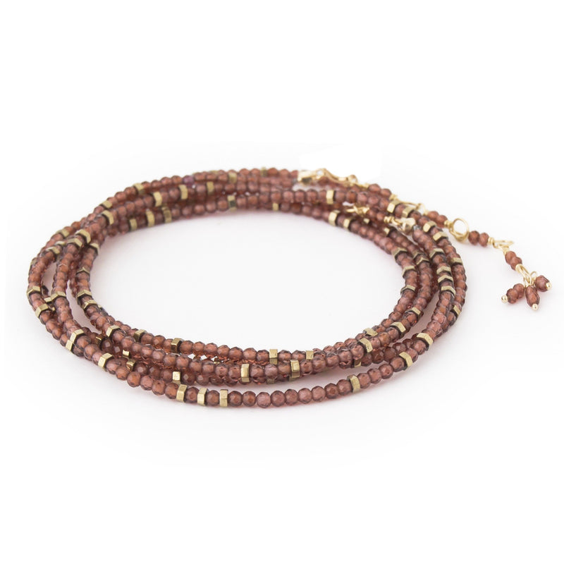 Red Garnet Wrap Bracelet - Necklace