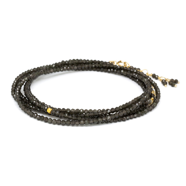 Obsidian Bead Wrap Bracelet - Necklace