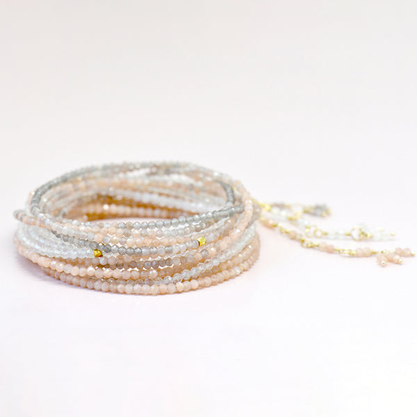 Blush Moonstone Wrap Bracelet - Necklace