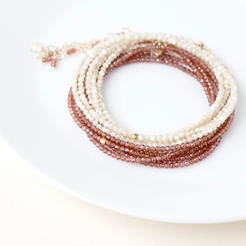 Mother of Pearl Wrap Bracelet - Necklace