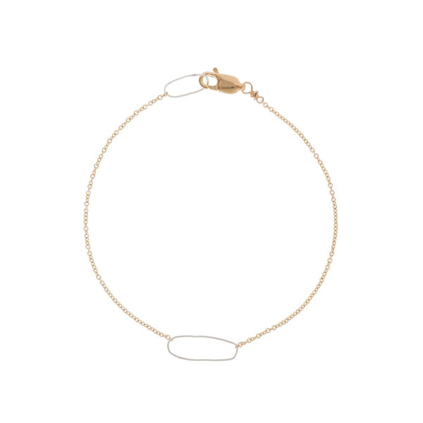 Rectangle + Delicate Gold Chain Bracelet