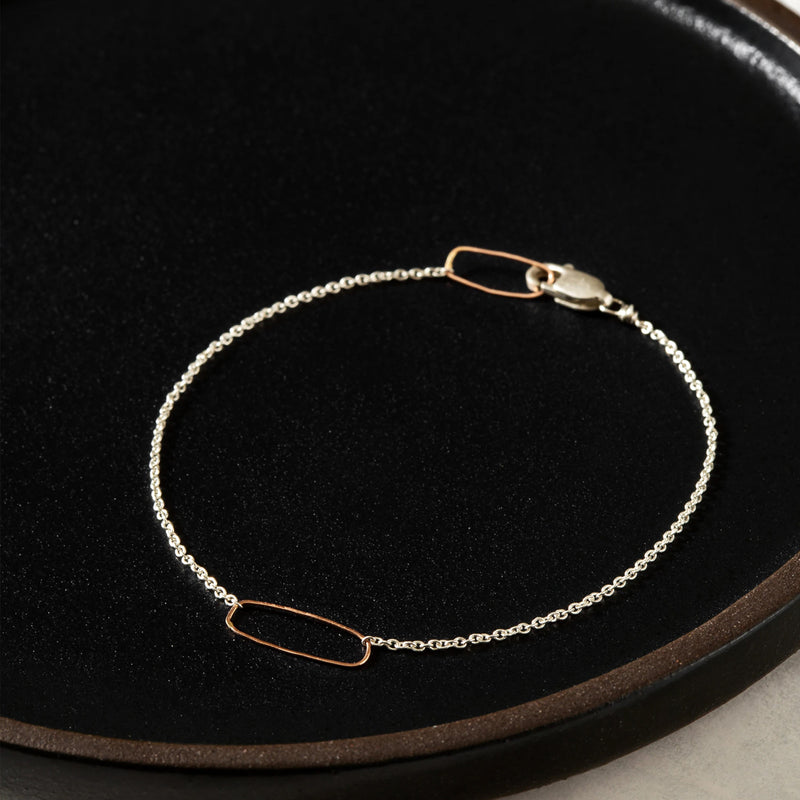 Rectangle + Delicate Silver Chain Bracelet