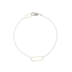 Rectangle + Delicate Silver Chain Bracelet - Anne Sportun Fine Jewellery