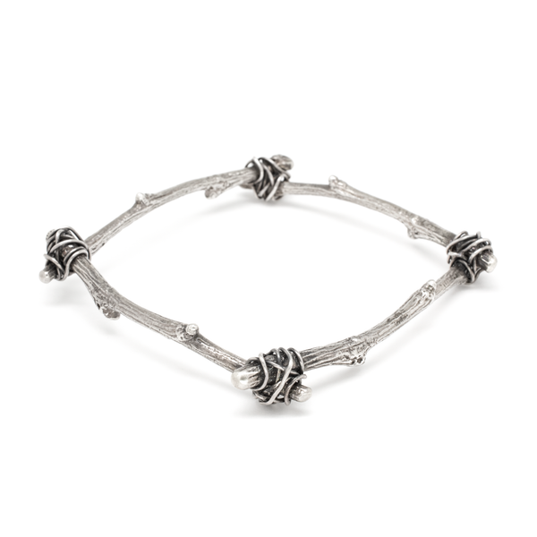 Tied Twig Square Bangle - Oxidized Silver