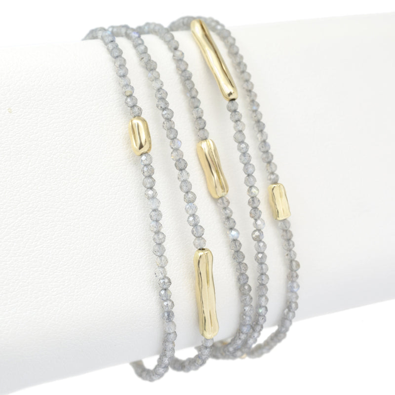 Five Gold Accent Gemstone Wrap – 18K Yellow Gold - Anne Sportun Fine Jewellery