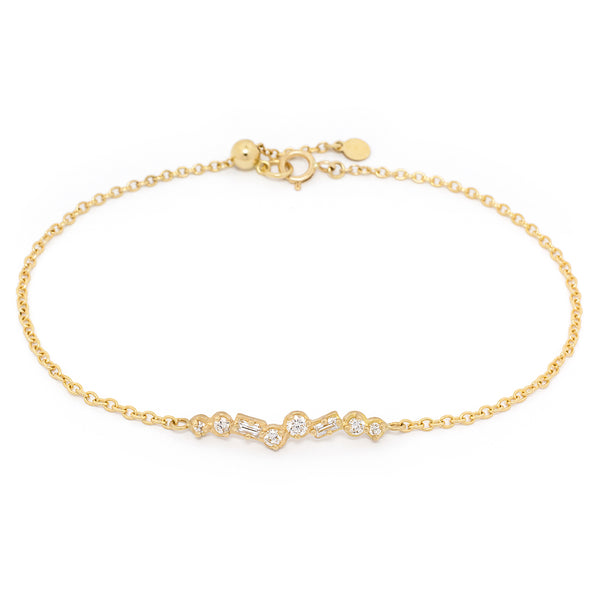 Round and Baguette Diamond Bar Bracelet - Anne Sportun Fine Jewellery