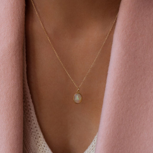 CABOCHON NECKLACE | 14K GOLD & OPAL