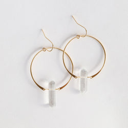 Hoop Earrings - Clear Quartz