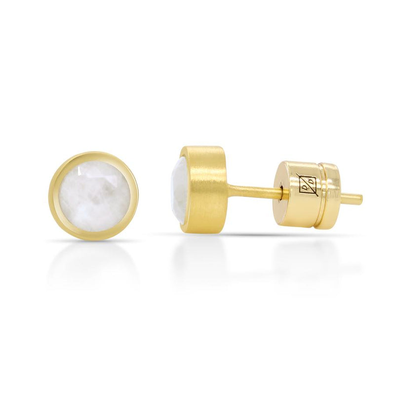 Small Moonstone Core Knockout Studs - Gold