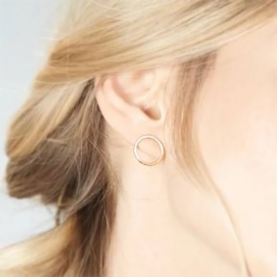 SILVER & GOLD CIRCLE POST EARRINGS
