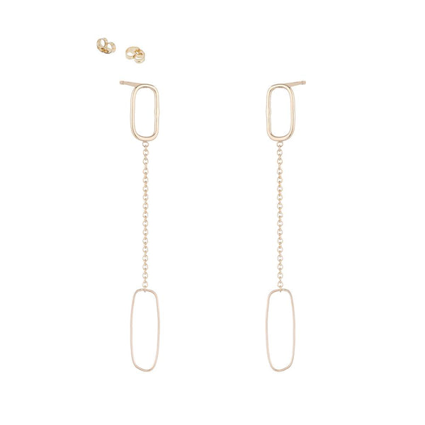 RECTANGLE & CHAIN POST EARRINGS - Anne Sportun Fine Jewellery