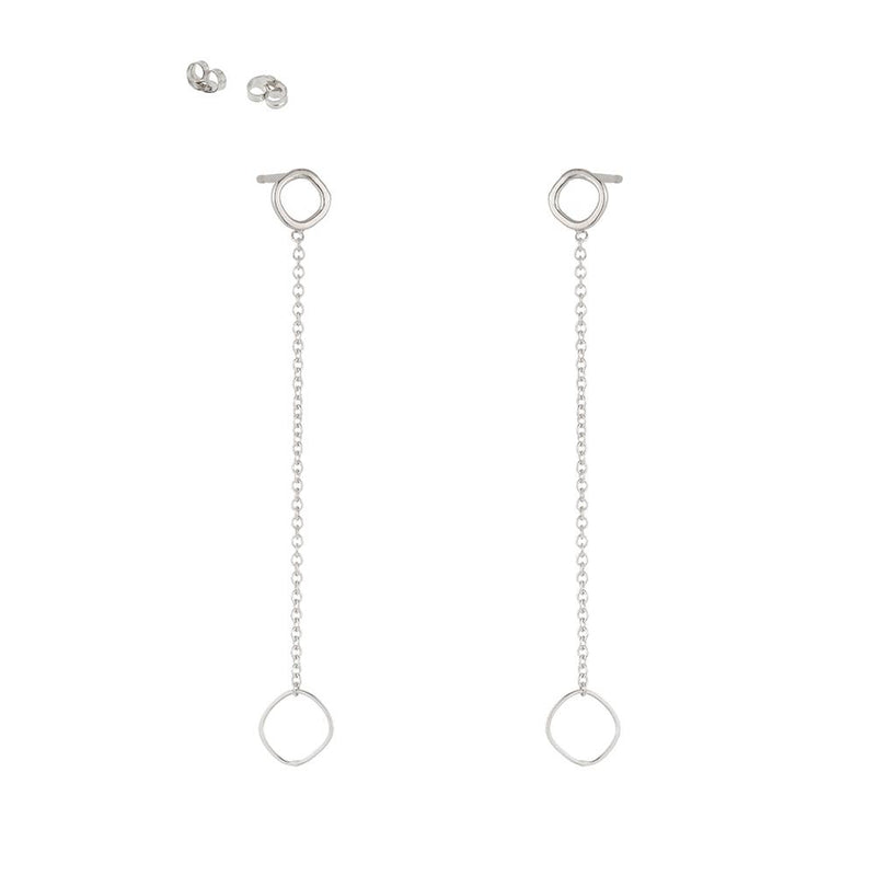 SQUARE & CHAIN POST EARRINGS - Anne Sportun Fine Jewellery
