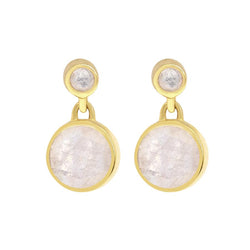 Knockout Droplet Earrings, Gold & Moonstone