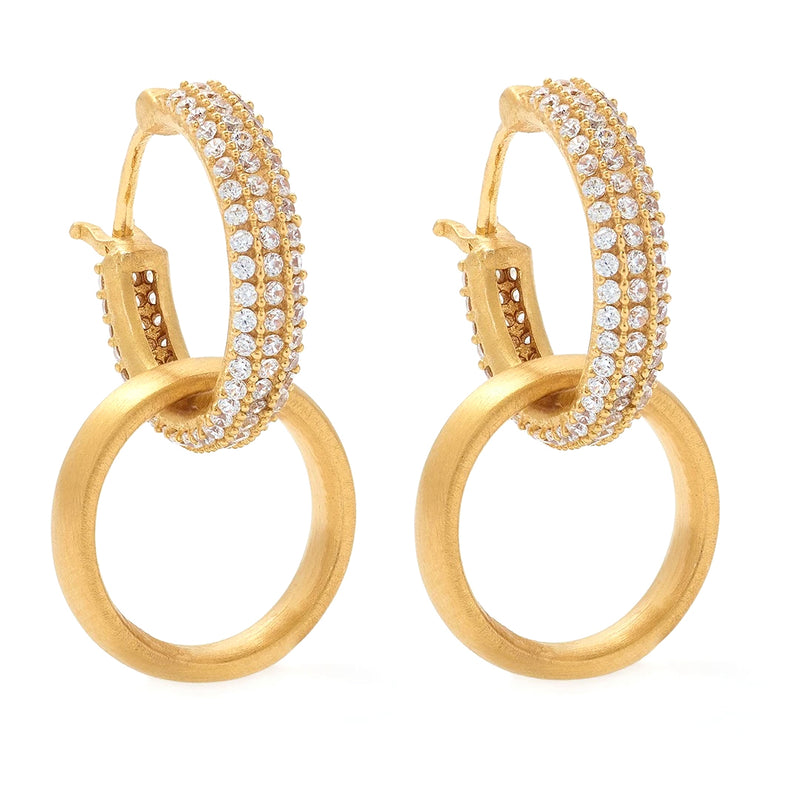 PAVE HUGGIE DOUBLE HOOP DROP EARRINGS - White Topaz