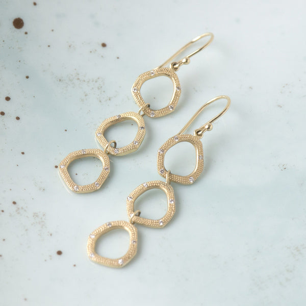 Triple Open Shape Hook Earrings - Anne Sportun Fine Jewellery