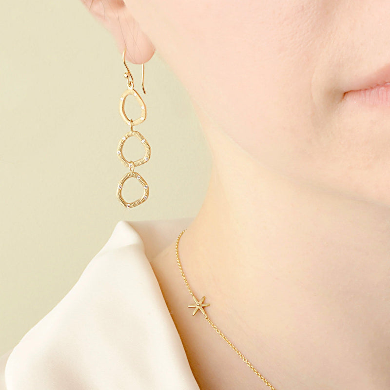 Triple Open Shape Hook Earrings - Anne Sportun Fine Jewellery Toronto, Canada, and U.S.