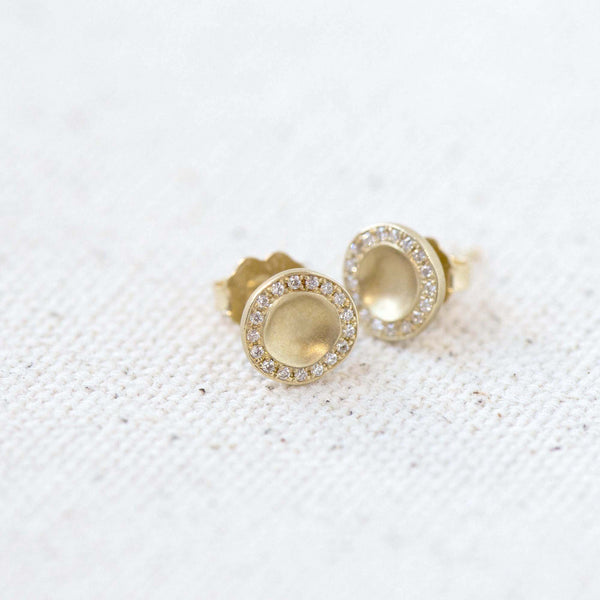 Gold Lilydust Cup Stud Earrings - Anne Sportun Fine Jewellery